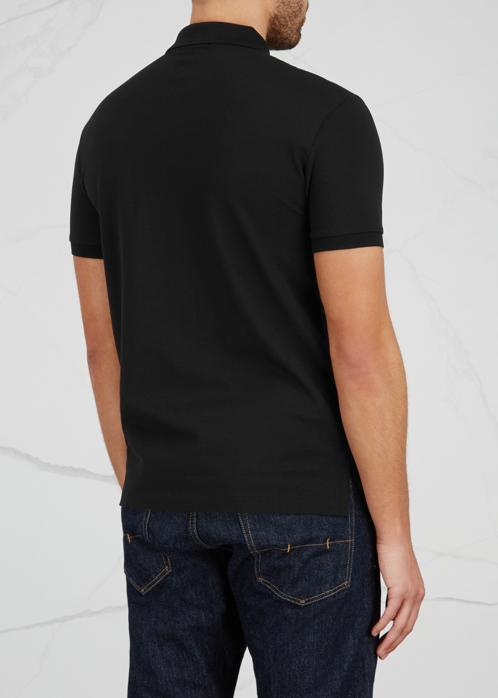 Black slim piqué cotton polo shirt - Polo Ralph Lauren