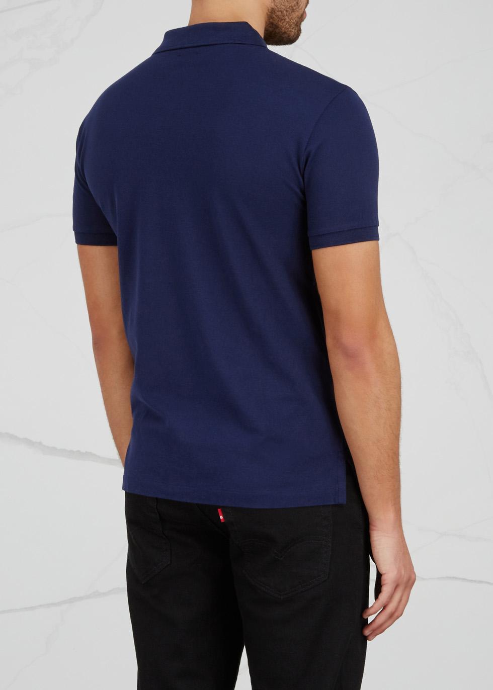 Navy slim piqué cotton polo shirt - Polo Ralph Lauren