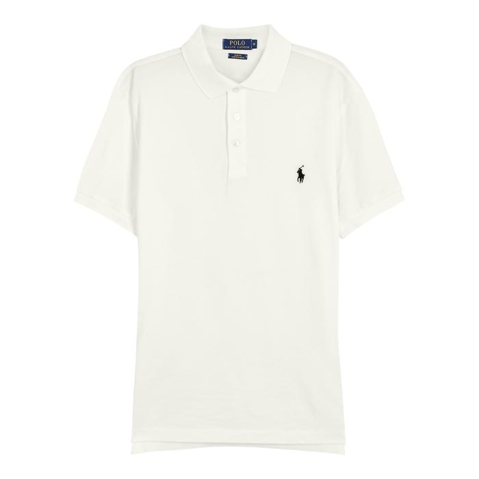 Polo Ralph Lauren White Slim Piqué Cotton Polo Shirt thumbnail