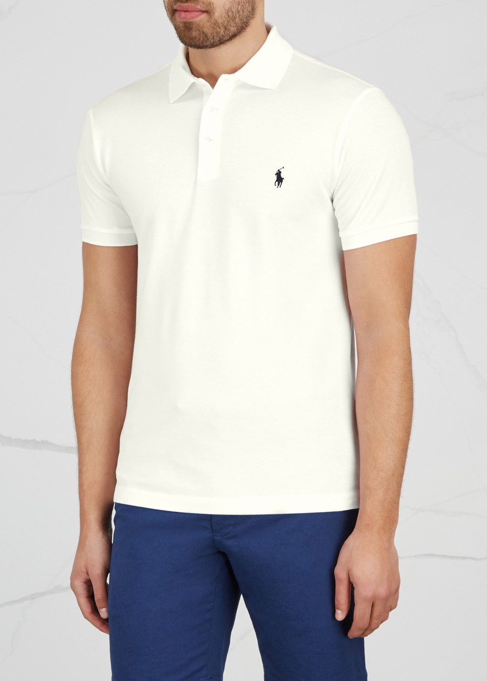 White slim piqué cotton polo shirt - Polo Ralph Lauren