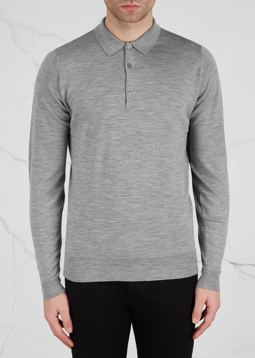 Belper grey fine-knit wool polo shirt - John Smedley