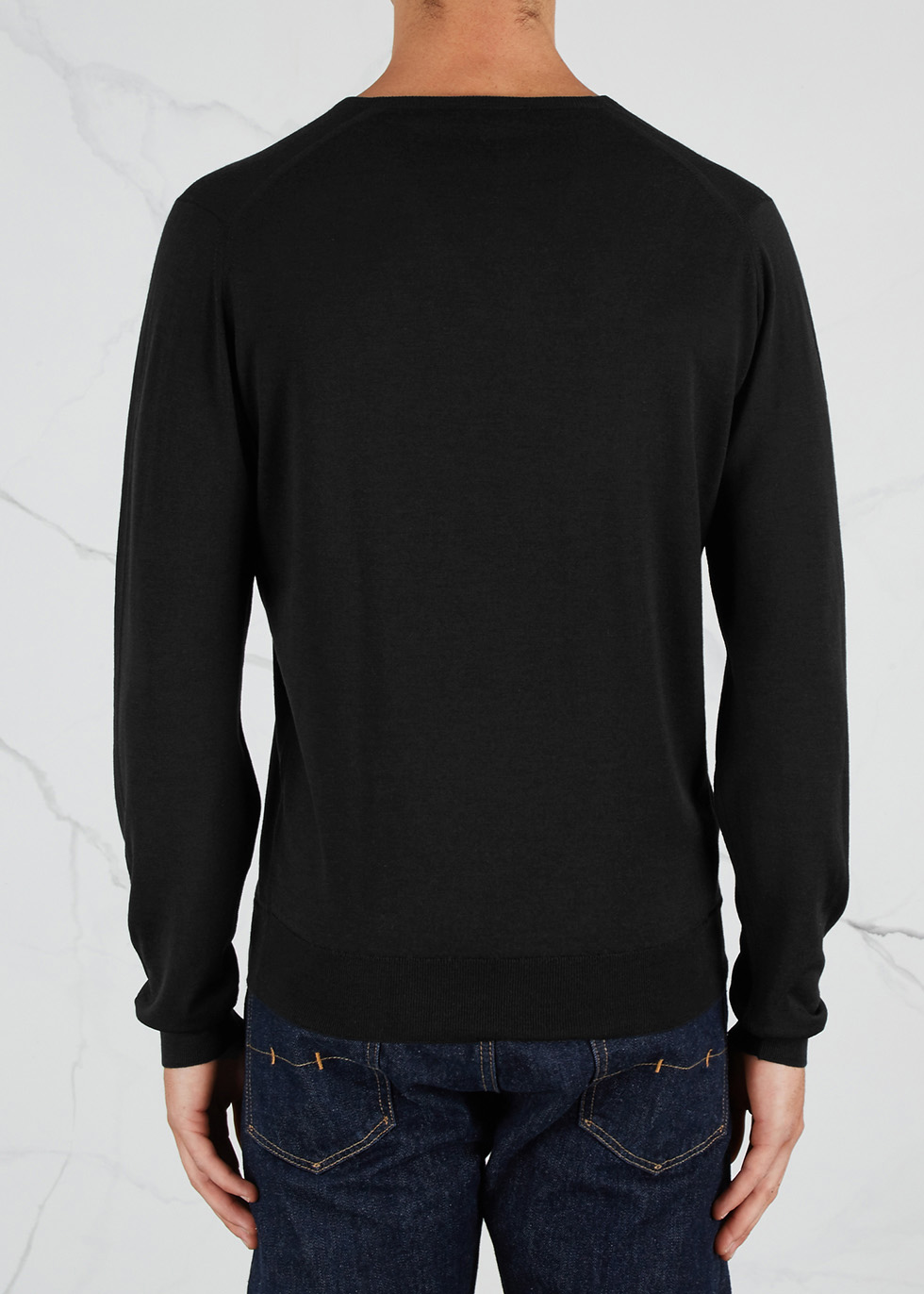 Blenheim black fine-knit wool jumper - John Smedley