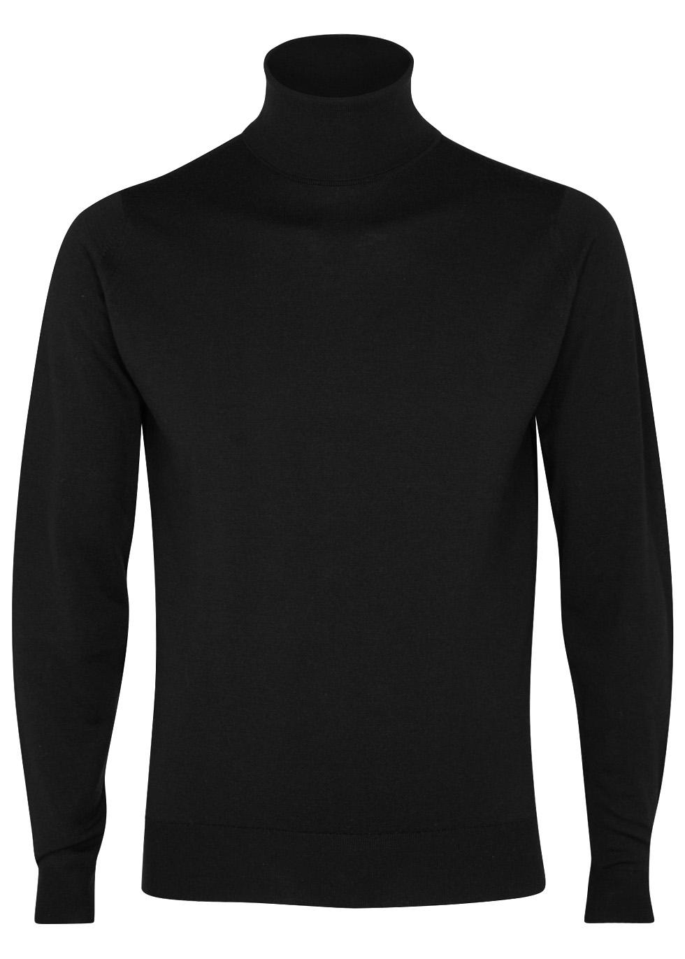 Cherwell black merino wool jumper - John Smedley
