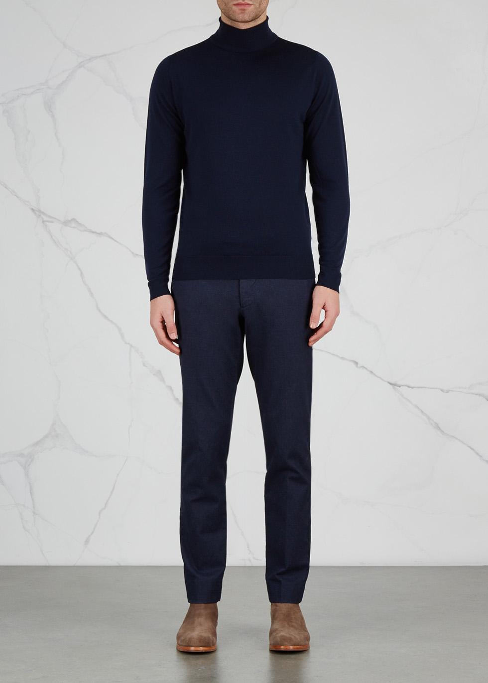 Cherwell navy merino wool jumper - John Smedley