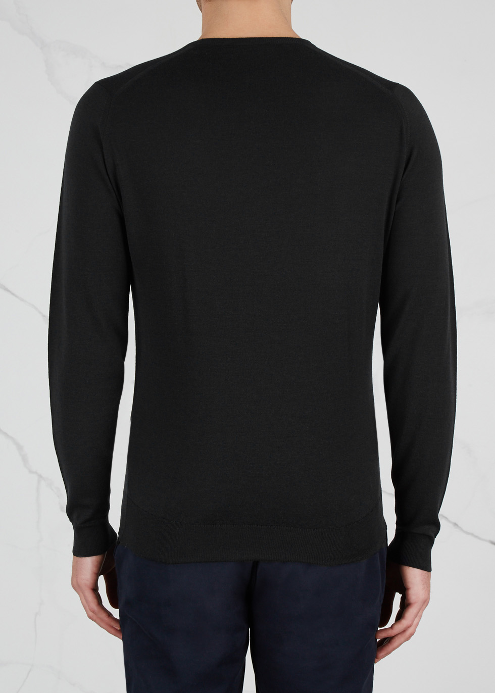 Lundy black fine-knit wool jumper - John Smedley