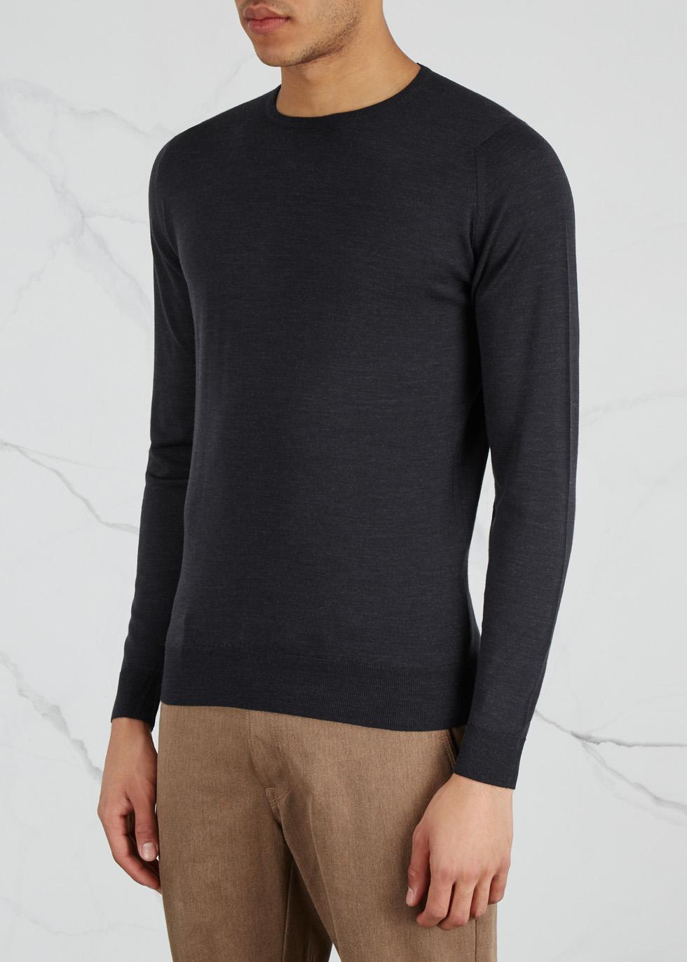 Lundy charcoal fine-knit wool jumper - John Smedley