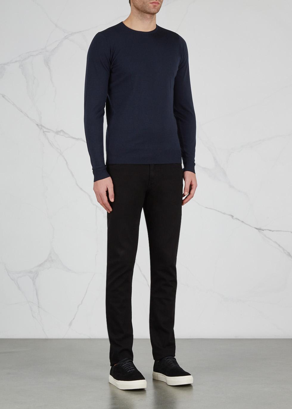 Lundy navy fine-knit wool jumper - John Smedley