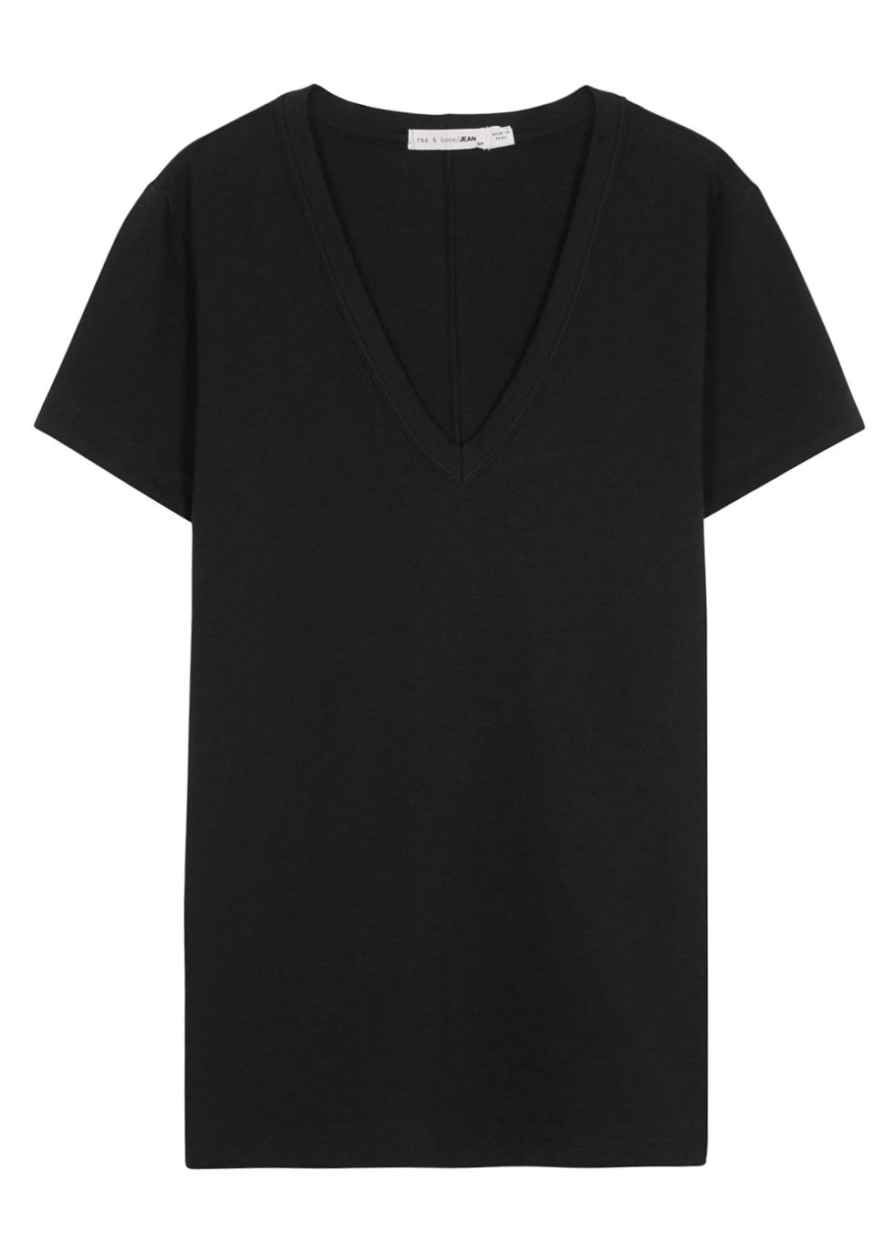 The Vee black cotton T-shirt - rag & bone