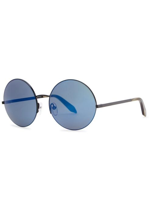 4bf22e42099c Victoria Beckham Supra blue round-frame sunglasses - Harvey Nichols