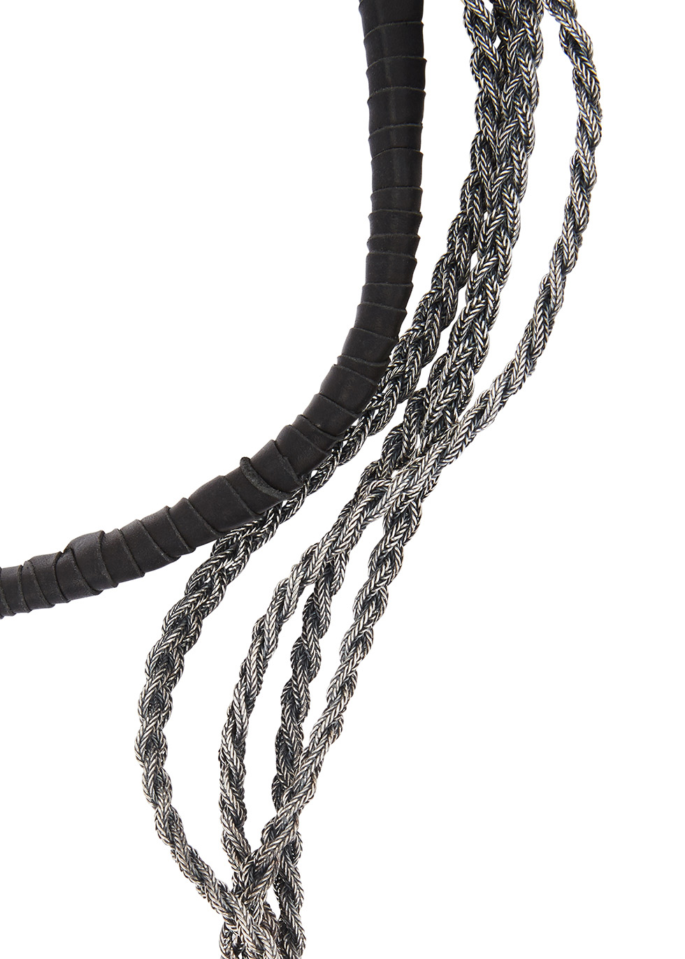 Sterling silver and leather wrap bracelet - Emanuele Bicocchi