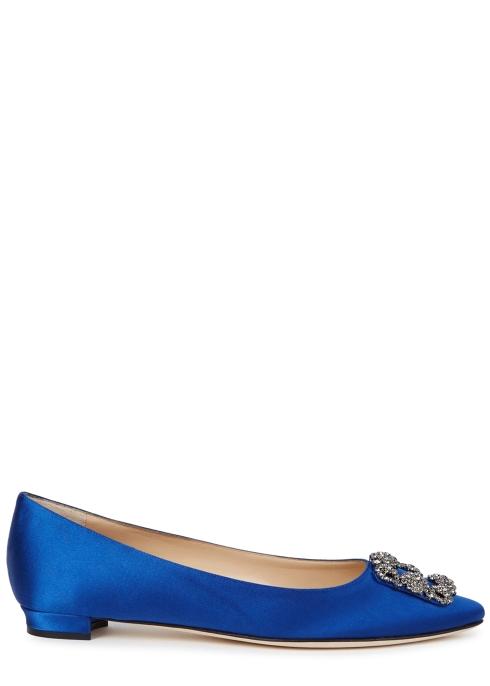 74d029c0e1920d Manolo Blahnik Hangisi 10 blue silk satin pumps - Harvey Nichols