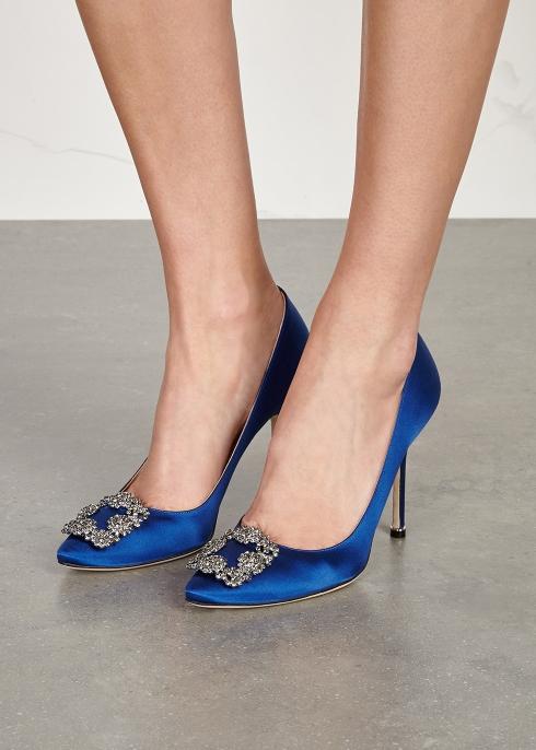659ba52a5e3 Manolo Blahnik Hangisi 105 royal blue silk satin pumps - Harvey Nichols