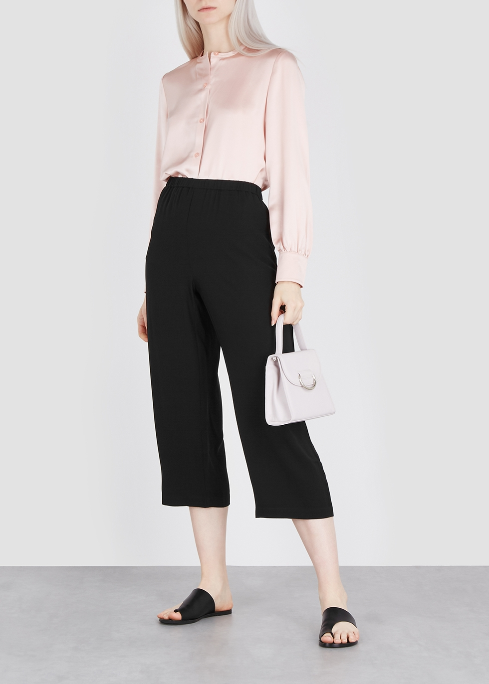 Black cropped silk trousers - EILEEN FISHER