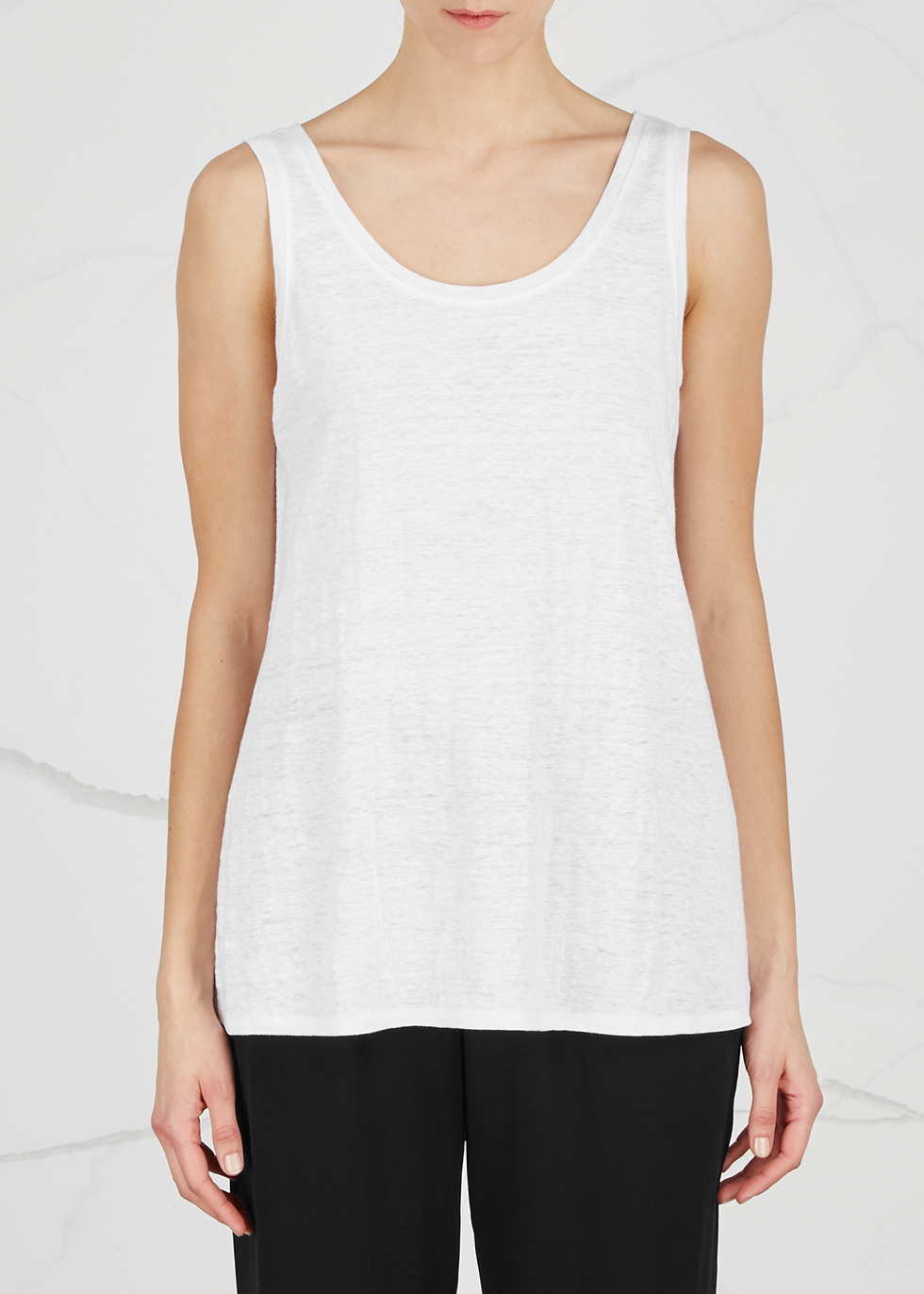 White slubbed linen tank - EILEEN FISHER