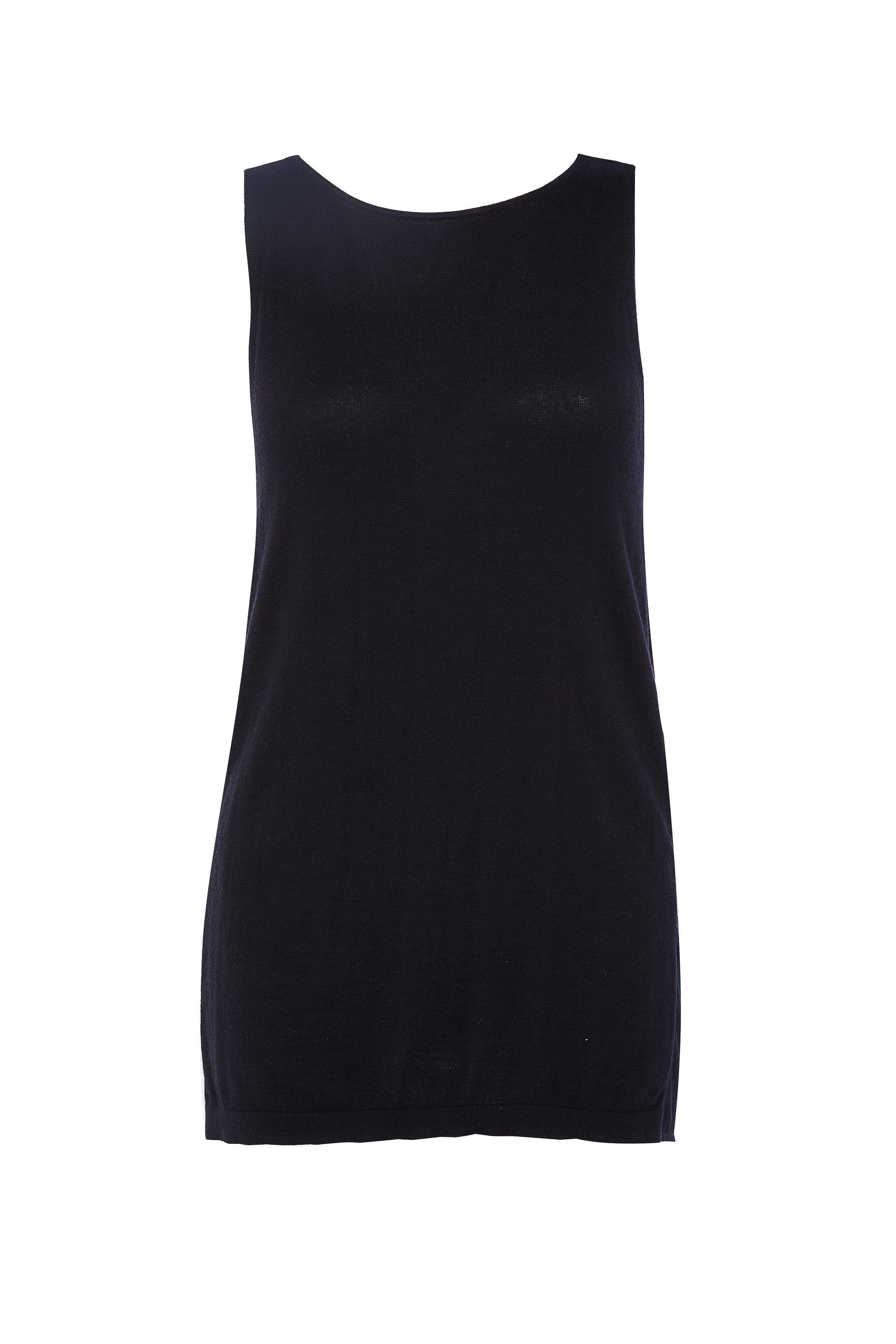 BLACK SLEEVELESS CASHMERE TOP