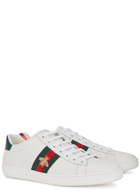 f9593a22ada Gucci Ace embroidered white leather trainers - Harvey Nichols