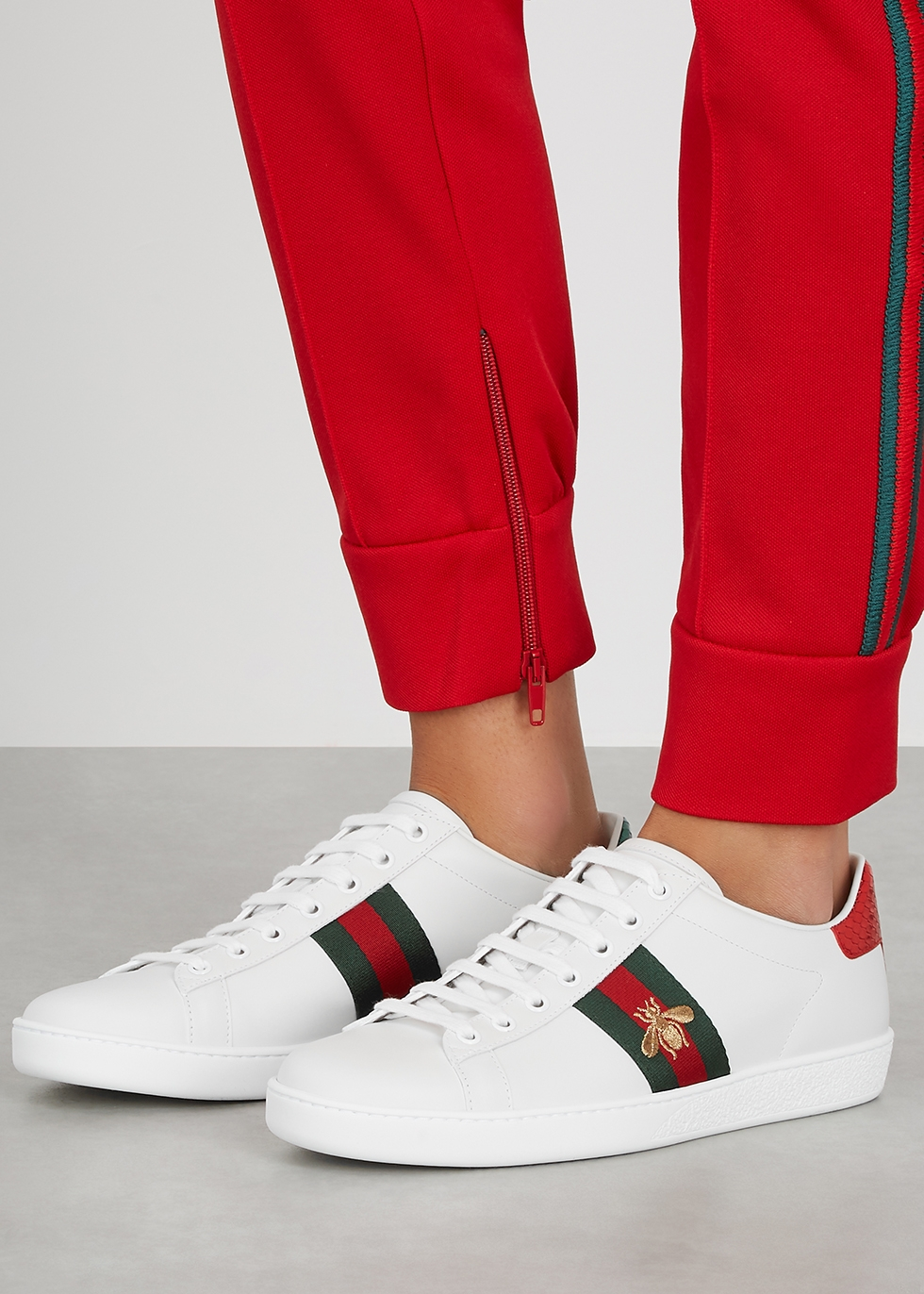 Gucci Ace embroidered white leather