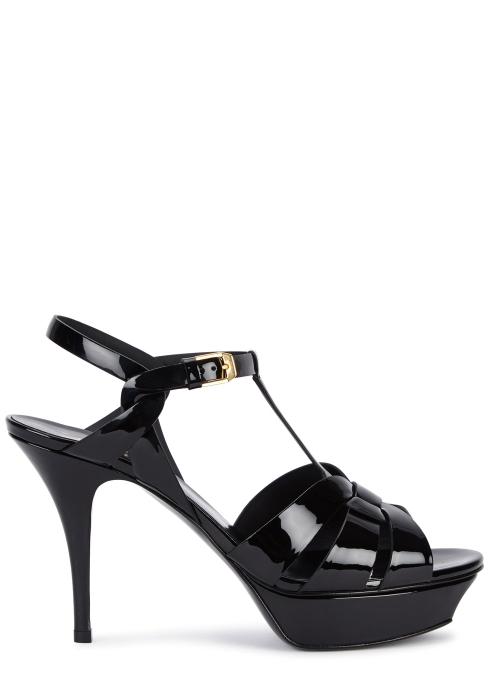 4a912f0c7946 Saint Laurent Tribute 105 black patent leather sandals - Harvey Nichols