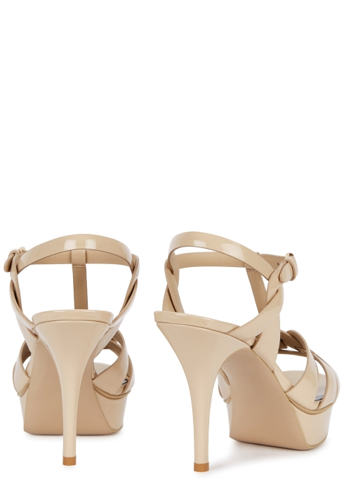 78ba75ec23f Saint Laurent Tribute 105 beige patent leather sandals - Harvey Nichols