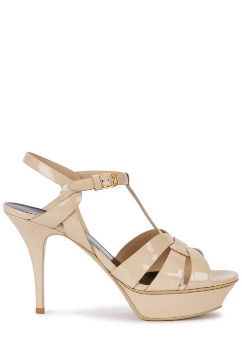 5db078d8e787 Saint Laurent Tribute 105 beige patent leather sandals - Harvey Nichols