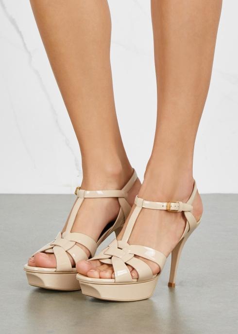 11012ff00f56 Saint Laurent Tribute 105 beige patent leather sandals - Harvey Nichols