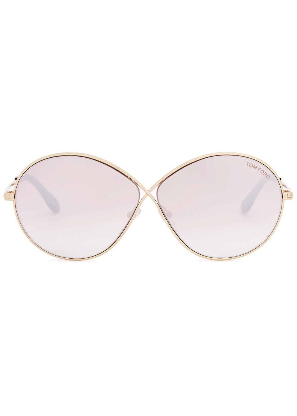 Rania mirrored gold tone sunglasses - Tom Ford Eyewear