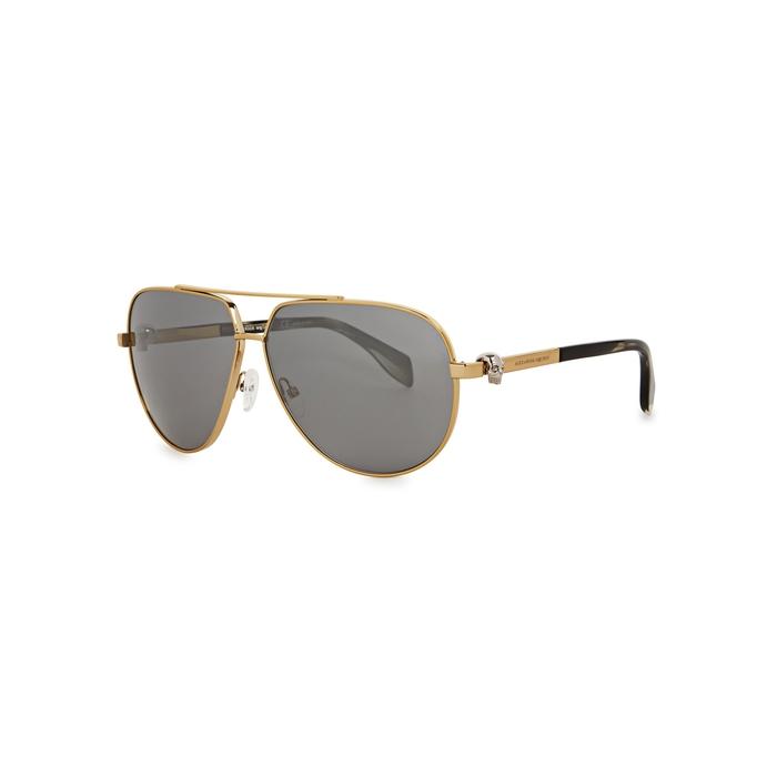 Alexander McQueen Gold Tone Aviator-style Sunglasses