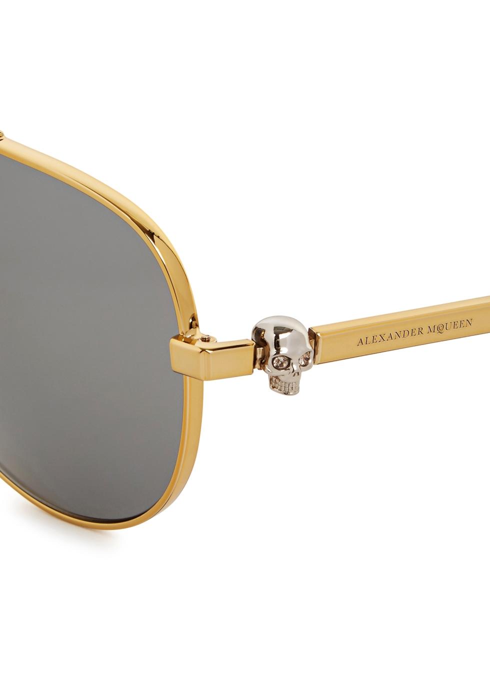 Gold tone aviator-style sunglasses - Alexander McQueen