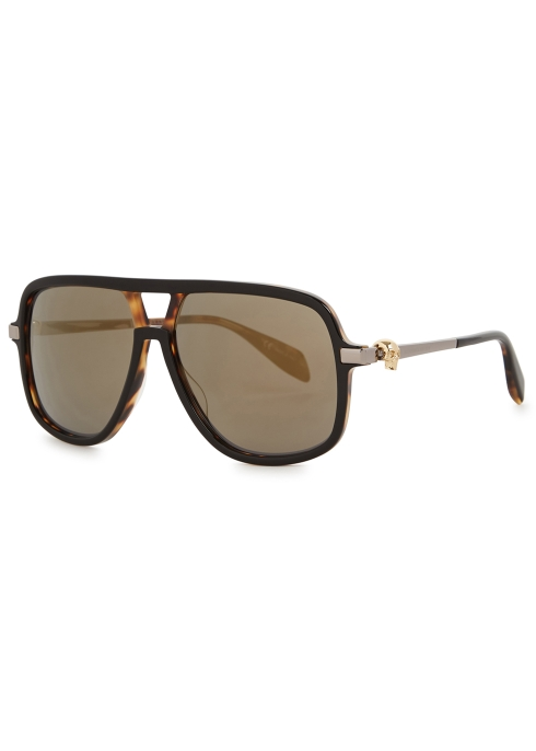 092643dc52 Alexander McQueen Black mirrored D-frame sunglasses - Harvey Nichols