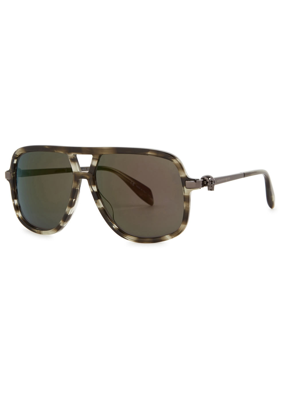 Grey tortoiseshell mirrored D-frame sunglasses - Alexander McQueen