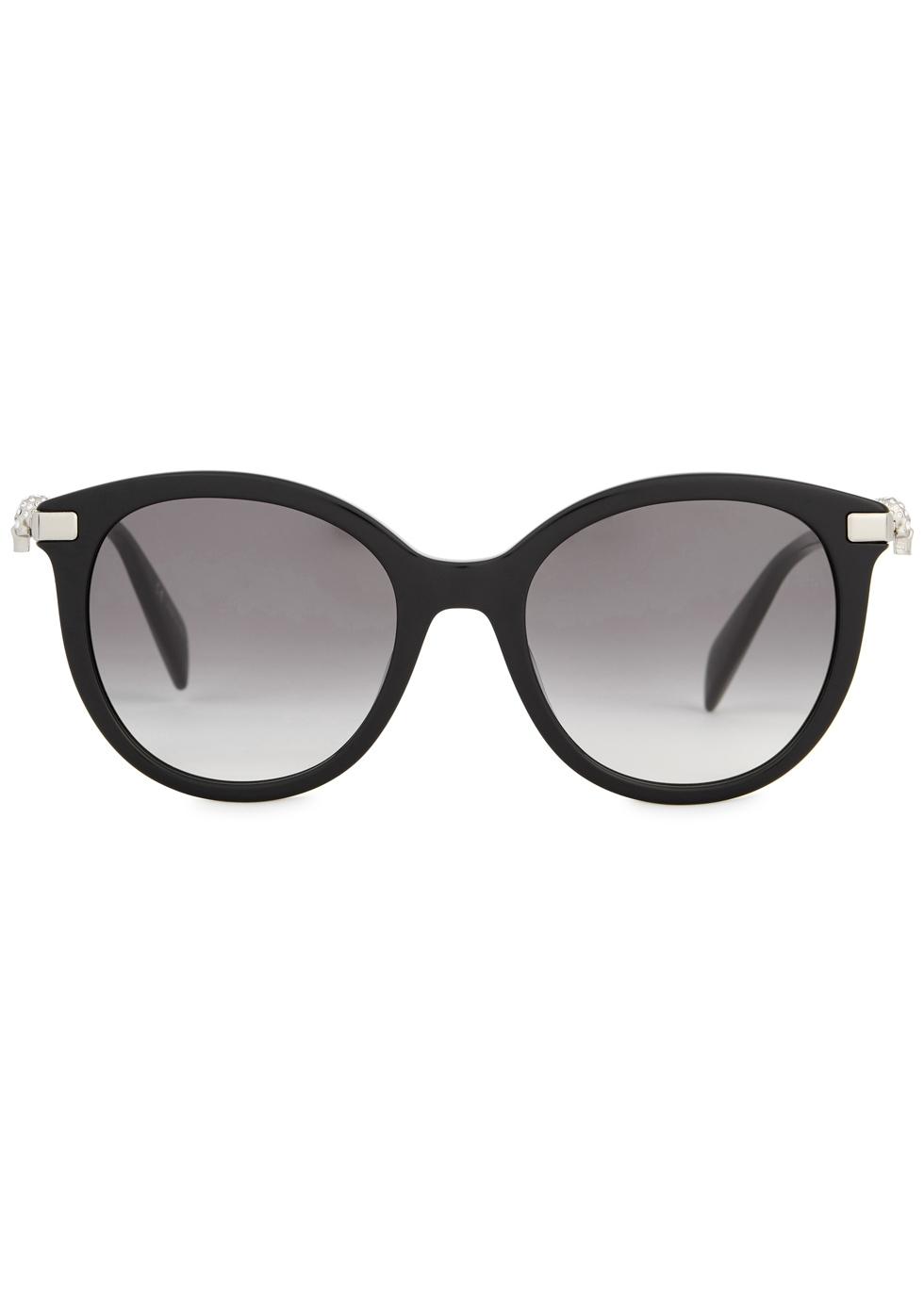 Black oval-frame sunglasses - Alexander McQueen