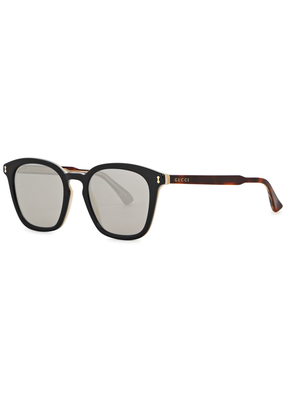 Black mirrored square-frame sunglasses - Gucci