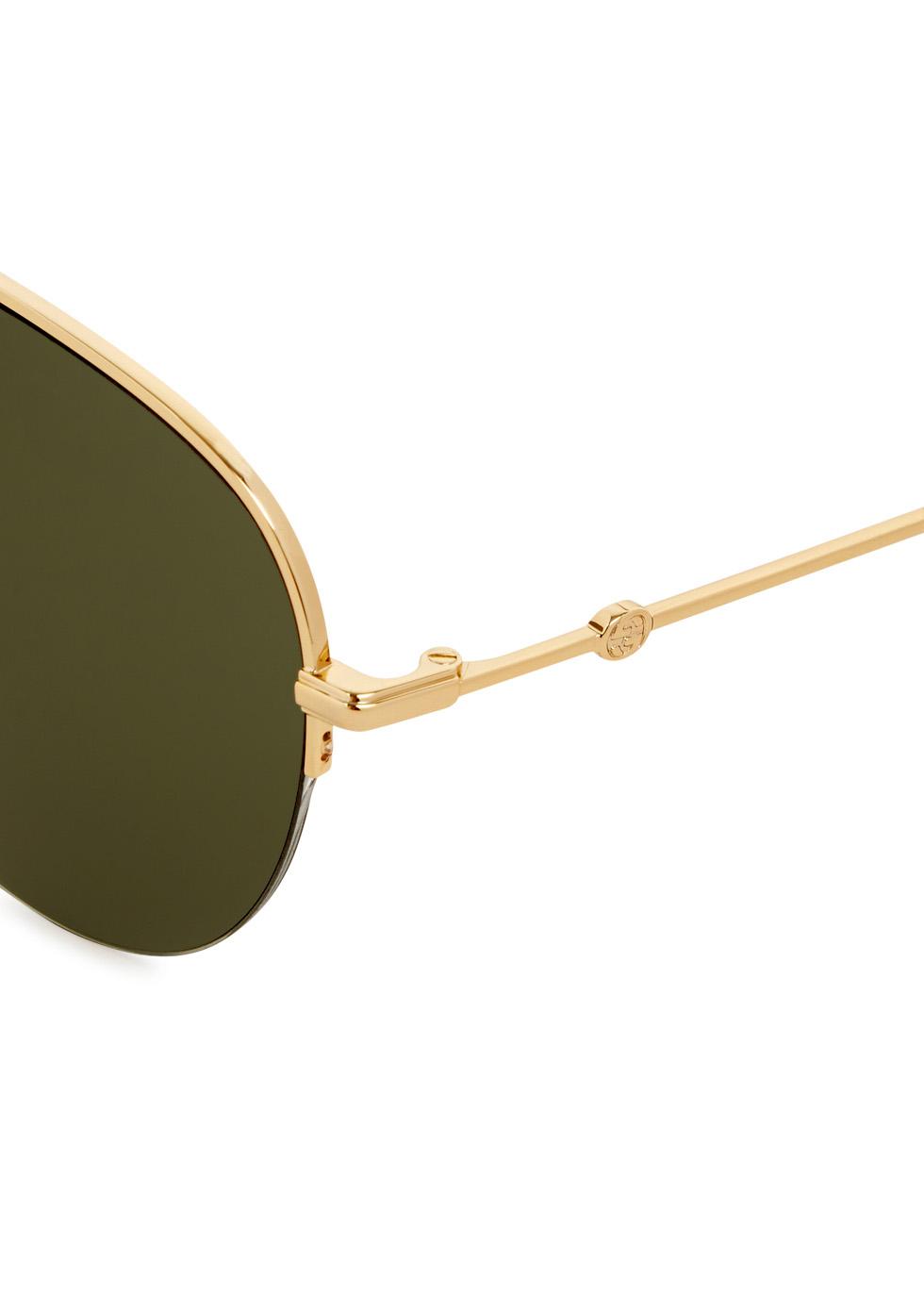 Gold tone aviator-style sunglasses - Gucci