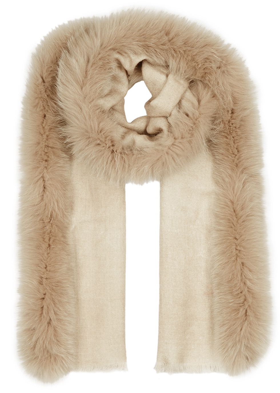 AMA PURE Sand Fur-Trimmed Wool Scarf in Beige