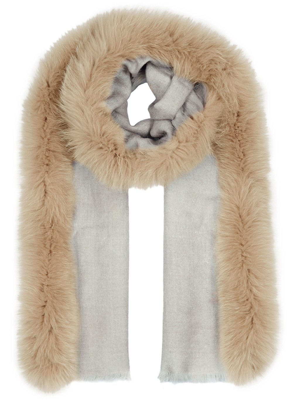 TAUPE FUR-TRIMMED WOOL SCARF