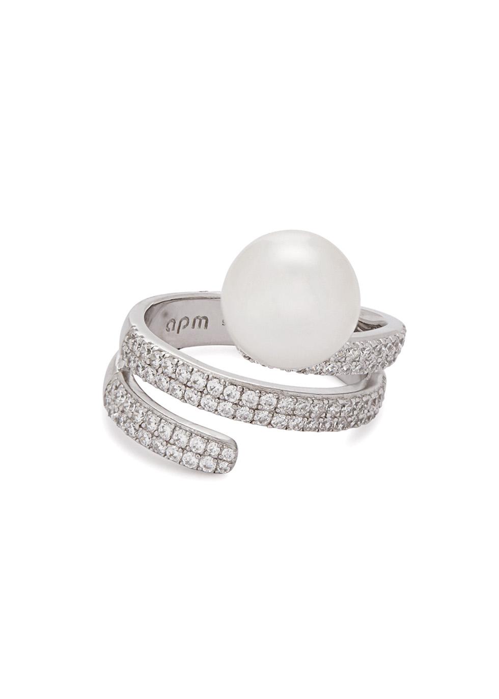Crystal-embellished sterling silver ring - APM Monaco