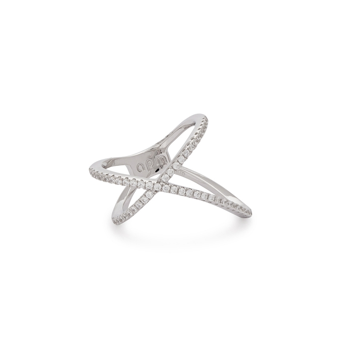 Apm Monaco NEO PROMESSE CRYSTAL-EMBELLISHED STERLING SILVER RING