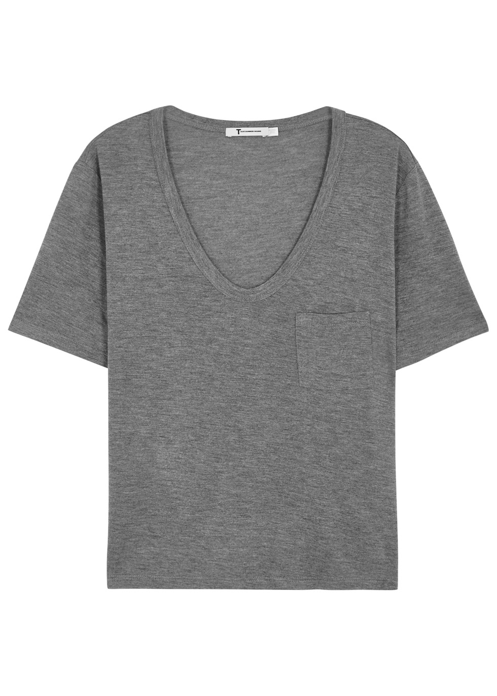T BY ALEXANDER WANG GREY CROPPED JERSEY T-SHIRT