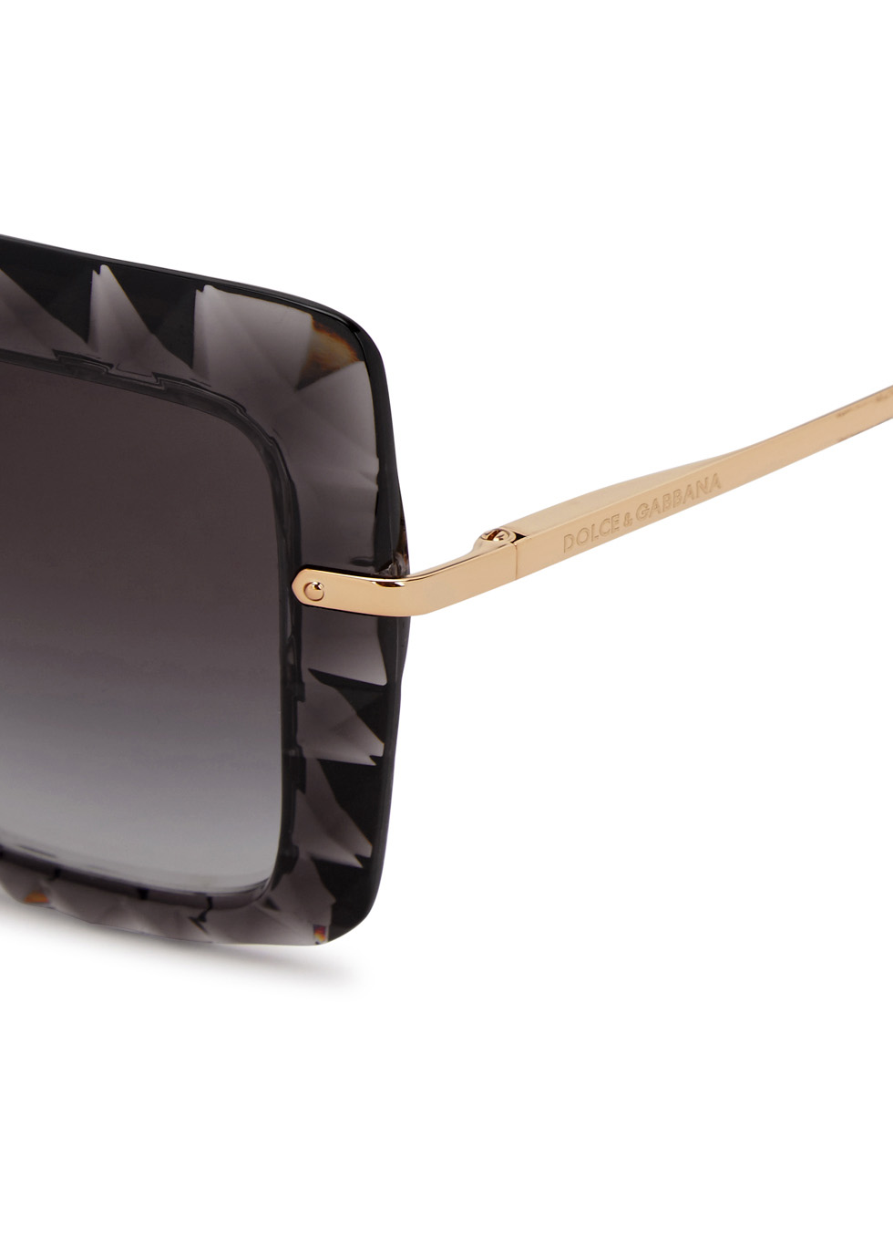 Grey faceted square-frame sunglasses - Dolce & Gabbana