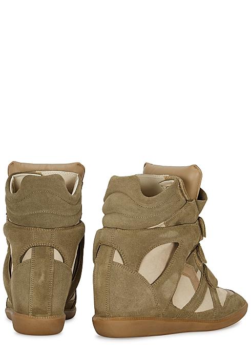 39e843df94 Isabel Marant Bekett 90 olive suede wedge sneakers - Harvey Nichols
