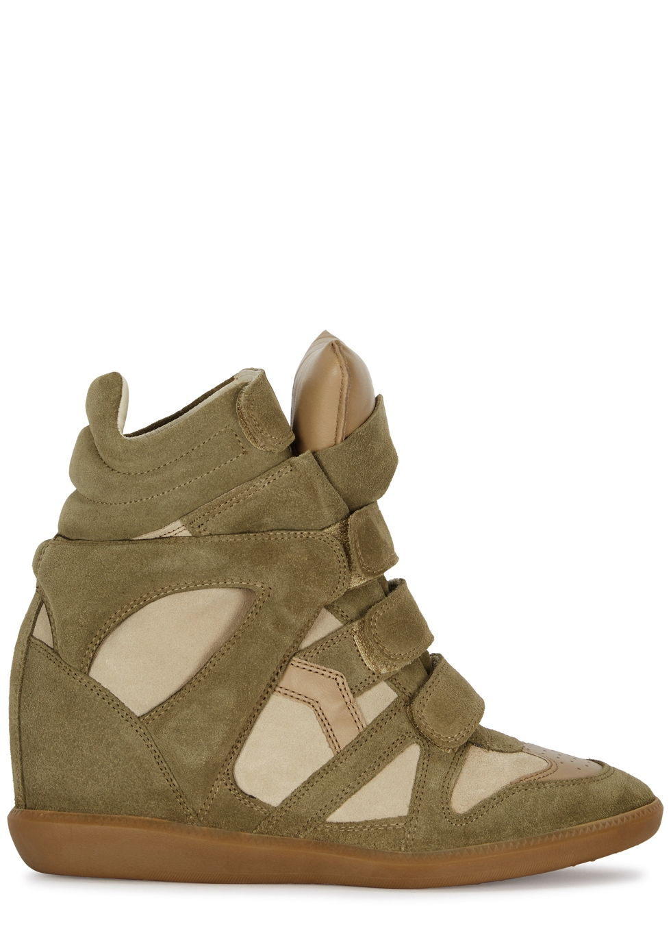 2ead4ab9e8 Isabel Marant Bekett 90 olive suede wedge sneakers - Harvey Nichols