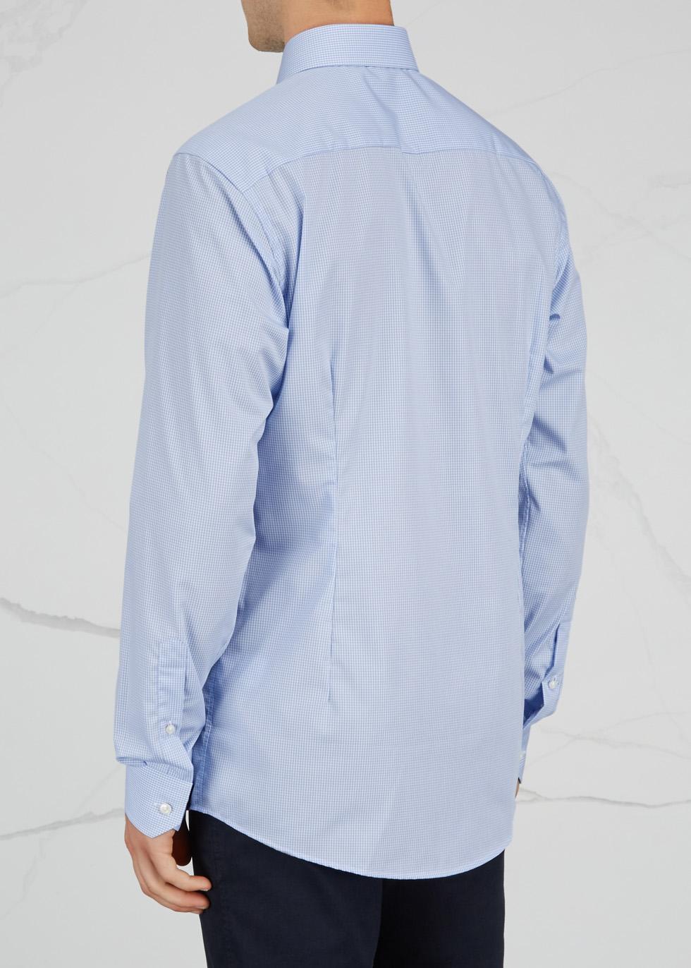 Blue slim gingham cotton shirt - Eton