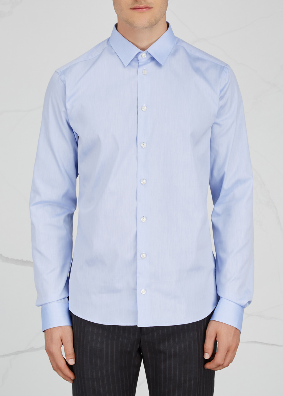Blue super slim cotton twill shirt - Eton