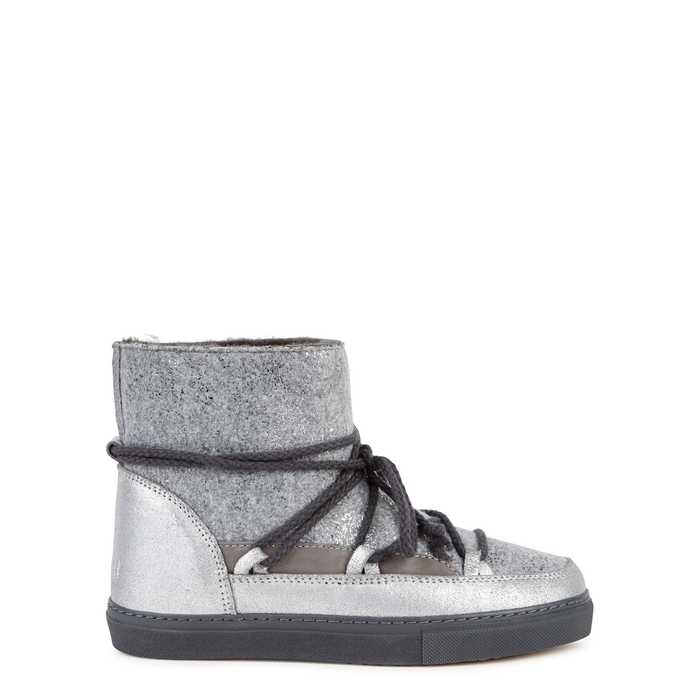 Inuikii SILVER SHEARLING-LINED SUEDE BOOTS