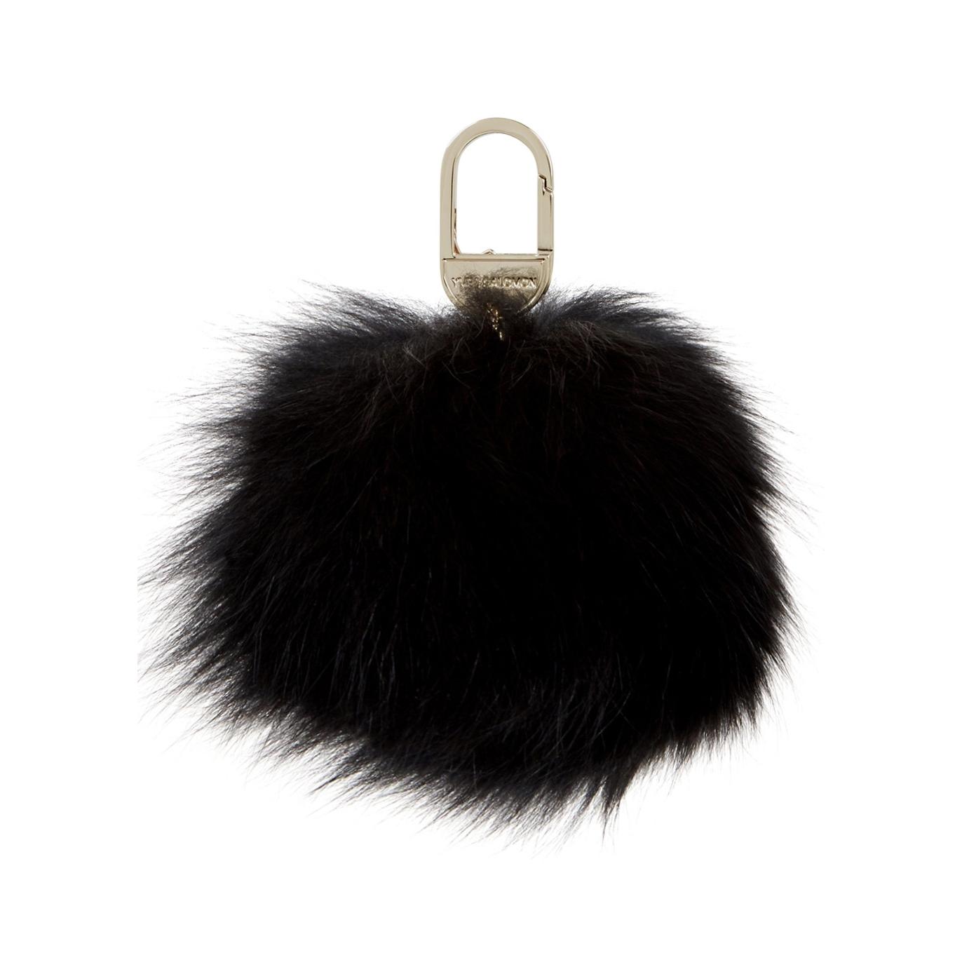 Yves Salomon Black fur pompom keyring - Harvey Nichols 136685d58