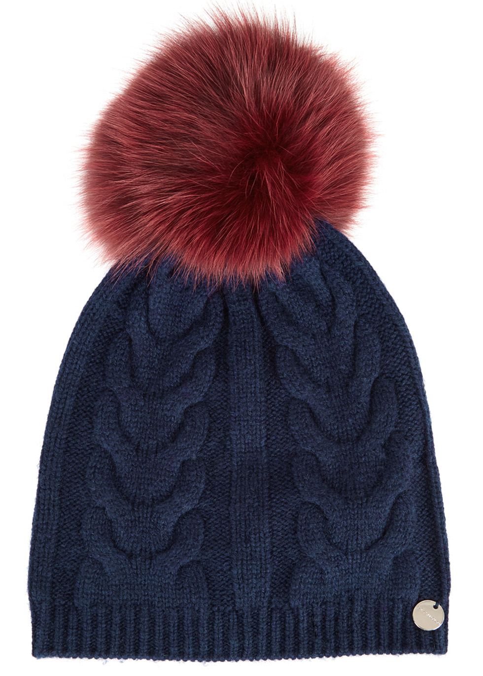 Navy fur pompom wool blend beanie Navy fur pompom wool blend beanie. Yves  Salomon