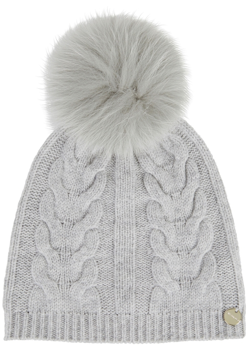 7ba4ec80 Yves Salomon Grey fur pompom wool blend beanie - Harvey Nichols