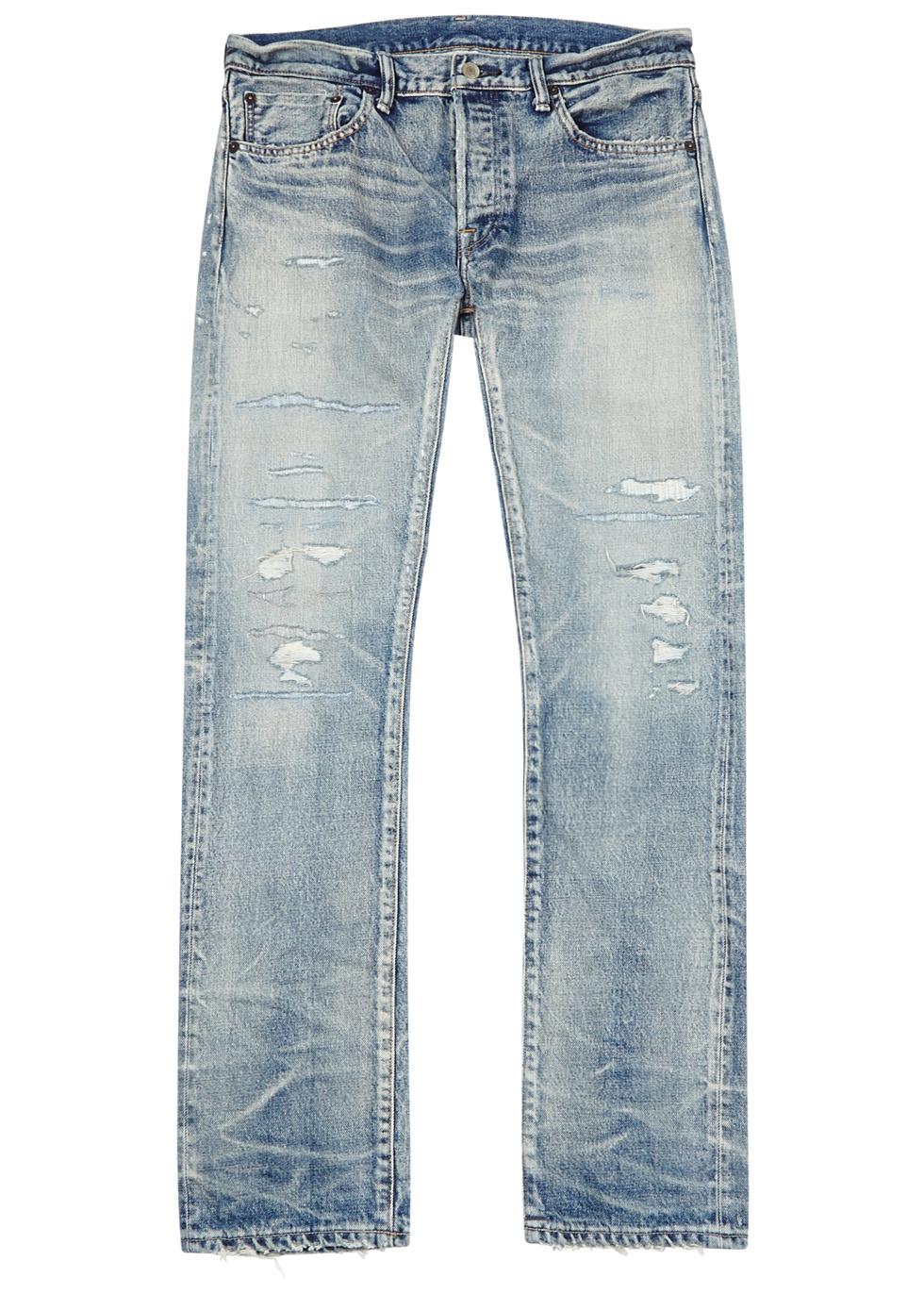 Fabric-Brand & Co. Emmett distressed selvedge jeans. USD 1,198.11 · Blue  distressed selvedge skinny jeans Blue distressed selvedge ...