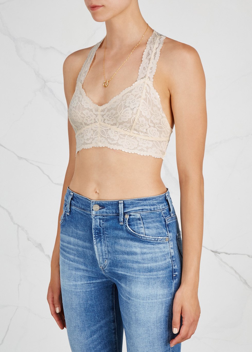Galloon ivory lace bra top - Free People