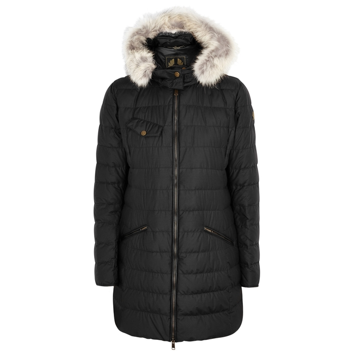 Belstaff MELCOMBE BLACK FUR-TRIMMED QUILTED COAT